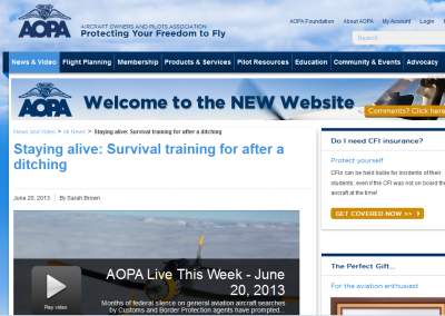 AOPA features H2O2 | Staying alive: Survival training